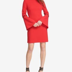 DKNY Red Embellished Bell-Sleeve Sheath Dress 14